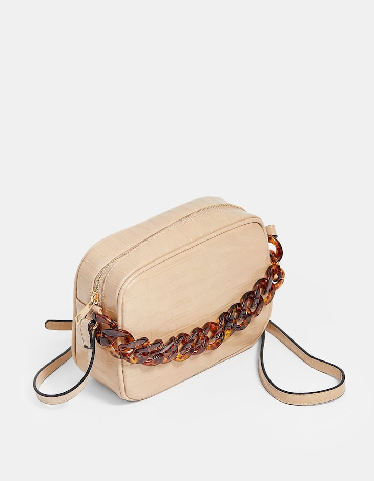 Crossbody bag with tortoiseshell chain detail