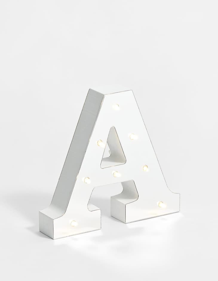 Mirrored silver effect letter A