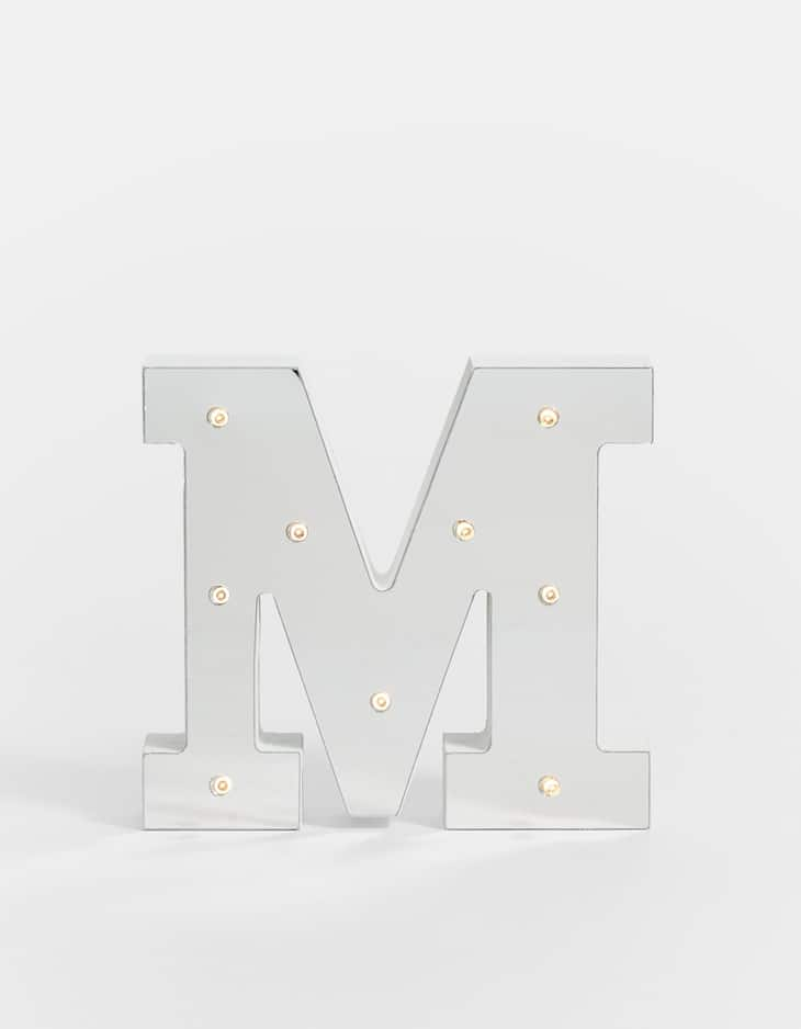 Silver mirrored letter M