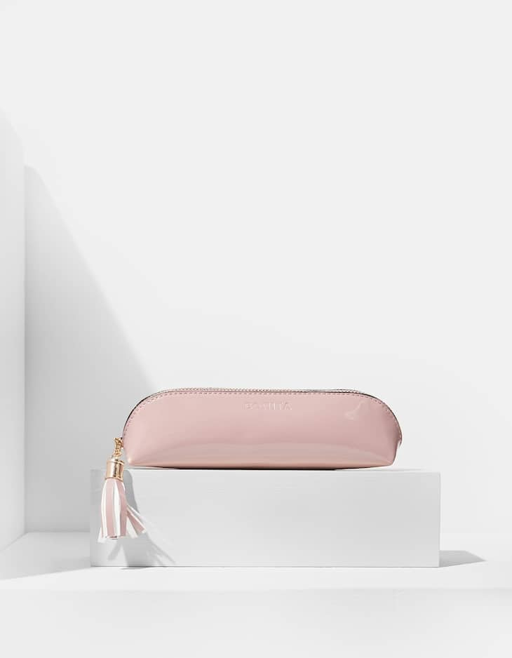 Faux patent leather slim pencil case