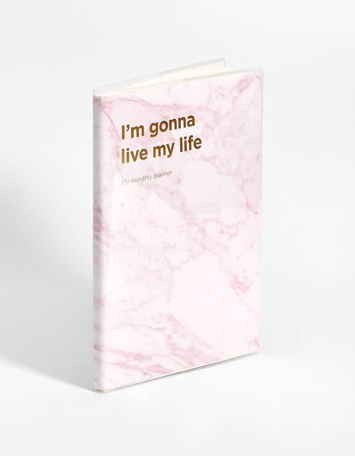 Pink marble print planner with slogan