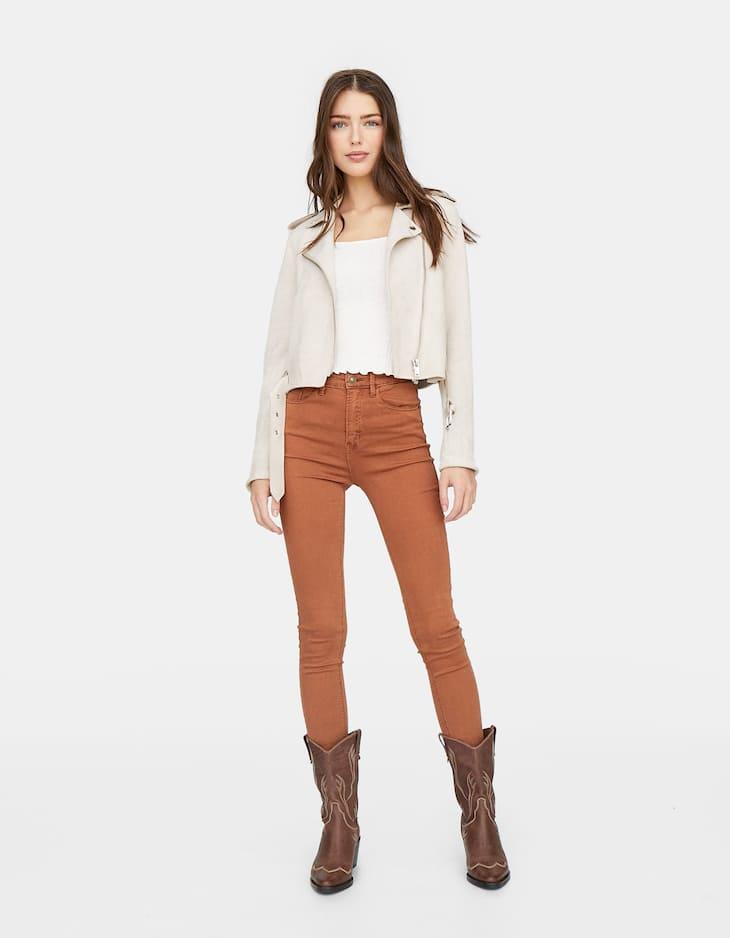 Coloured super high waist trousers