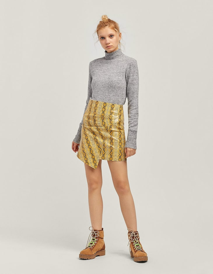 b2ac1db6f0d Printed faux leather skirt - Jackets