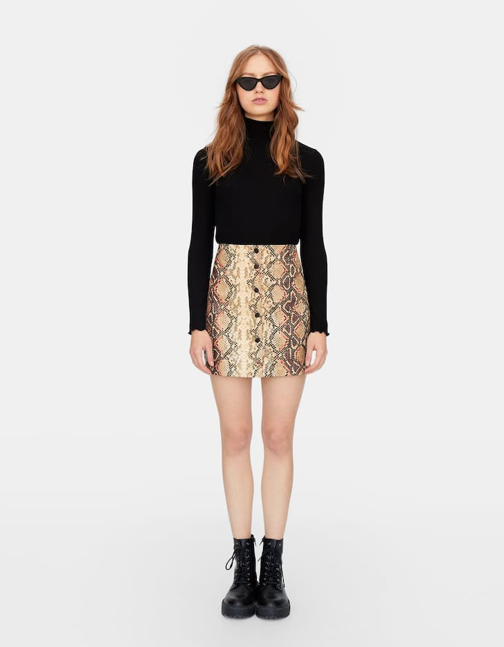 Coloured snakeskin faux leather skirt