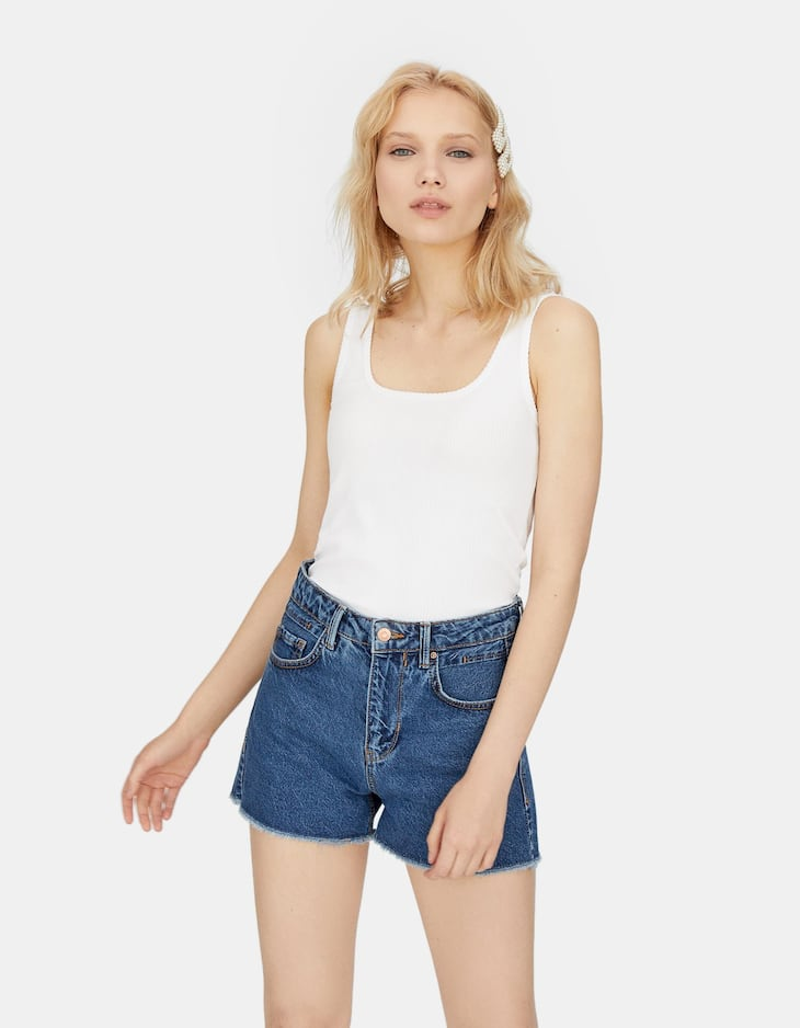 Shorts high waist vintage a righe