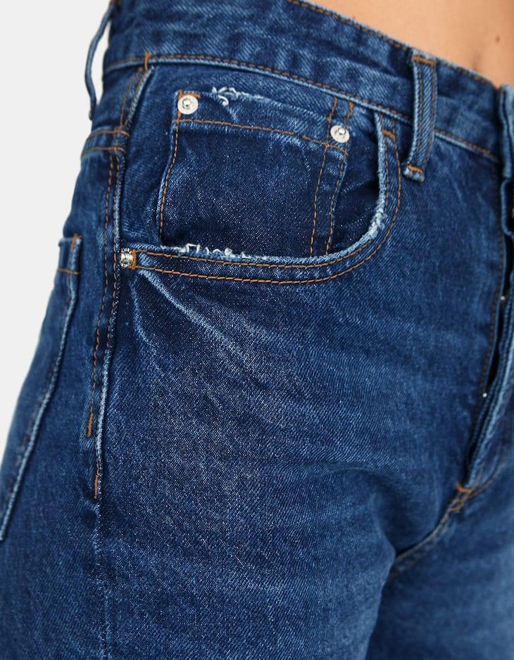 Stradivarius - Mom-Fit-Jeans Dunkel verwaschen - 3