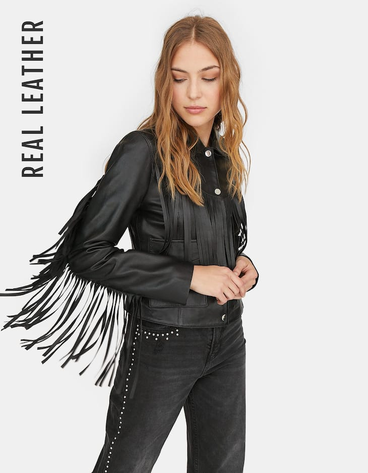Limited Edition leather jacket with fringes