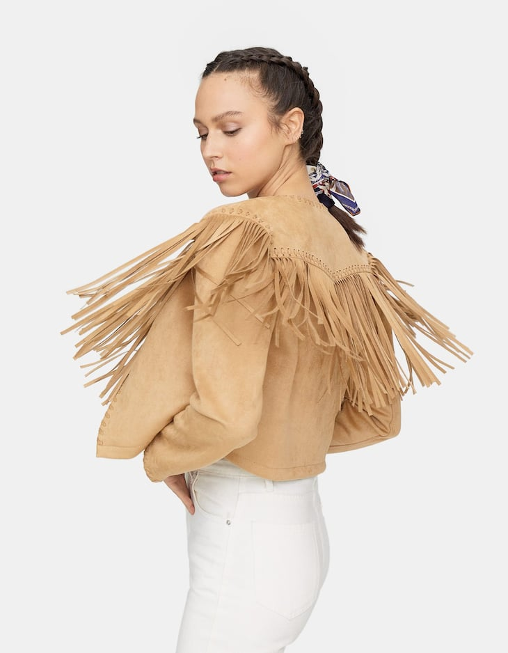 Limited edition faux suede jacket with fringing