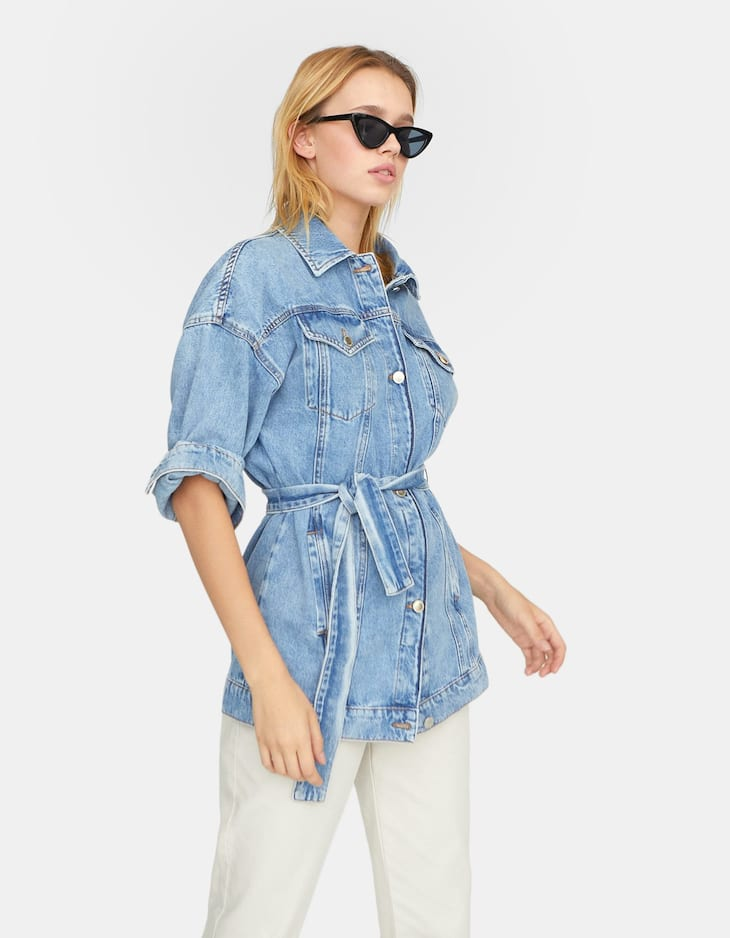 Denim jacket with belt