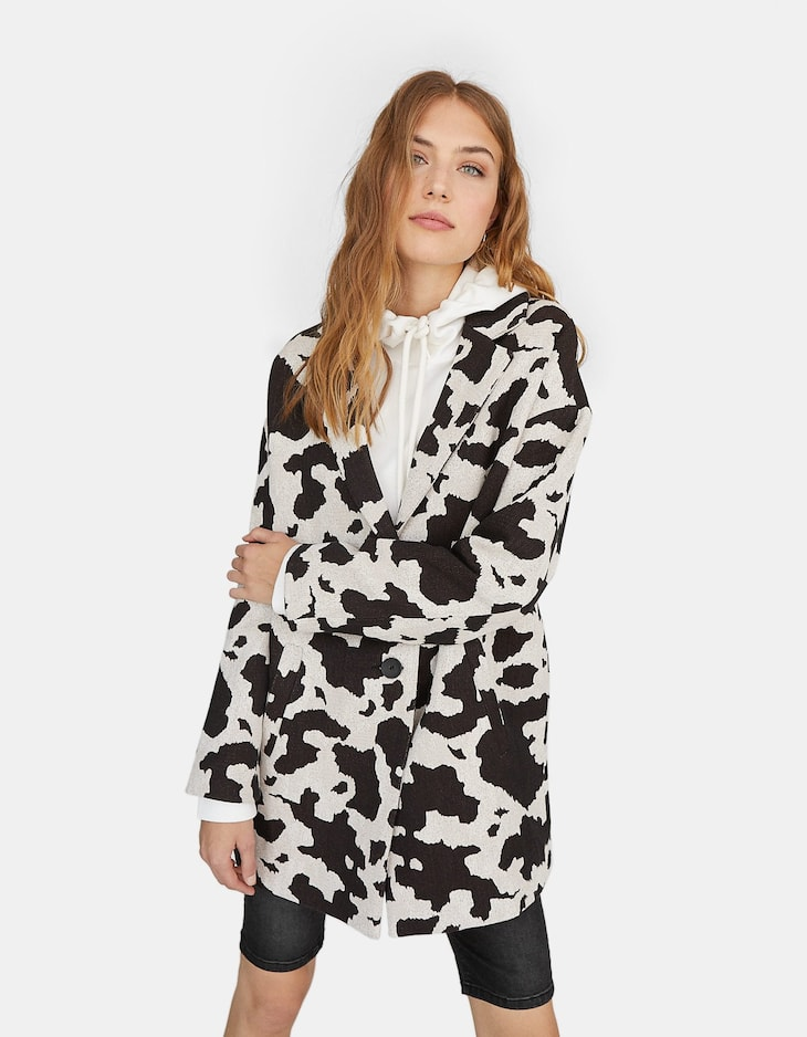 Animal print drop sleeve coat