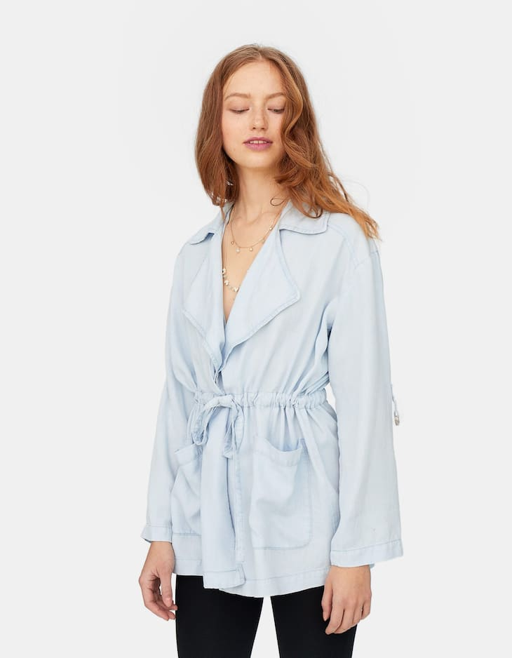 Flowing denim trench coat