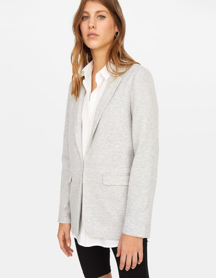 Knit blazer with printed lining on sleeves