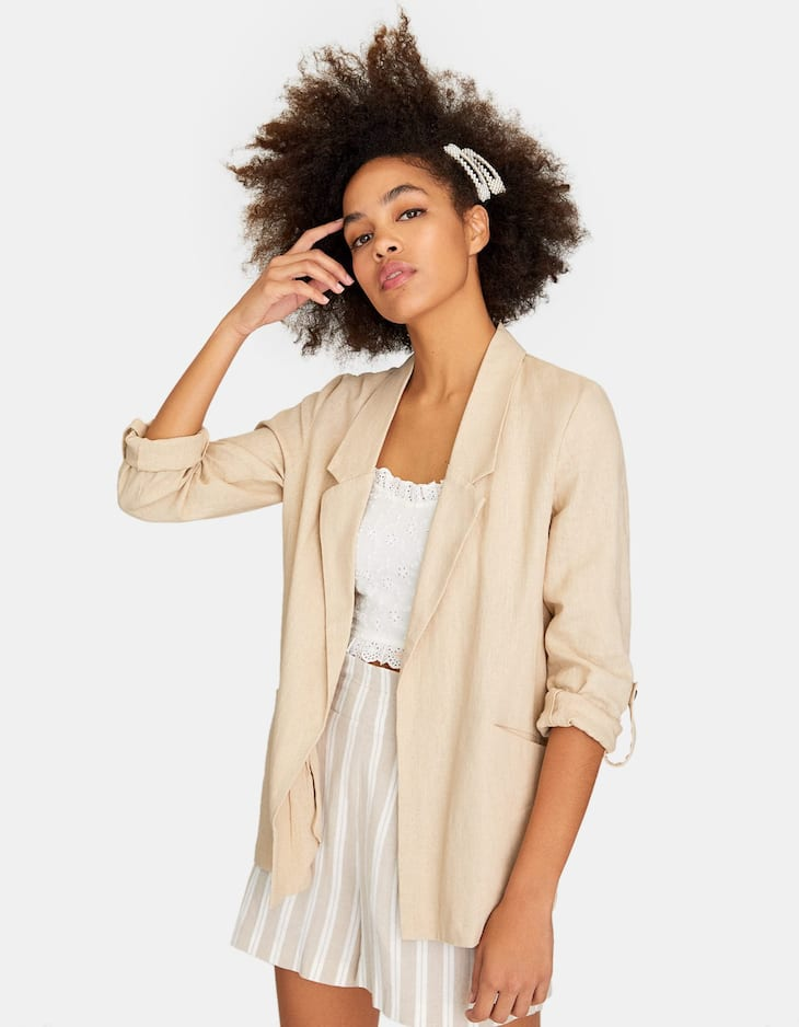 Plain loose-fitting rustic blazer