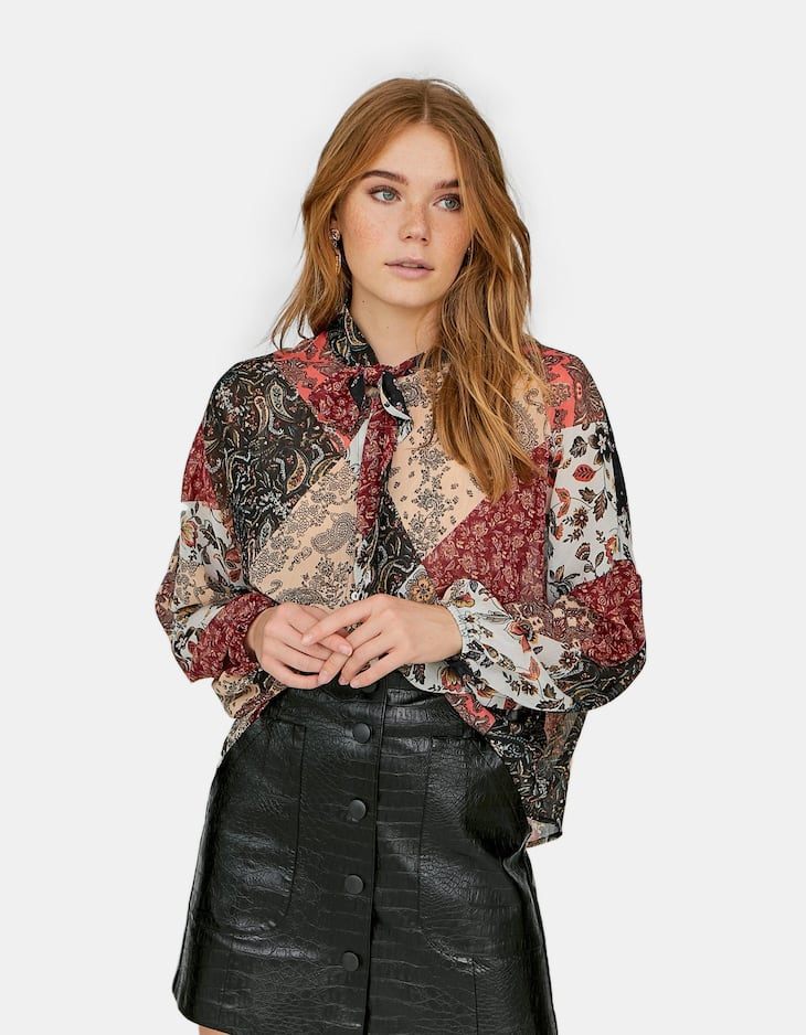 Patchwork blouse with tie