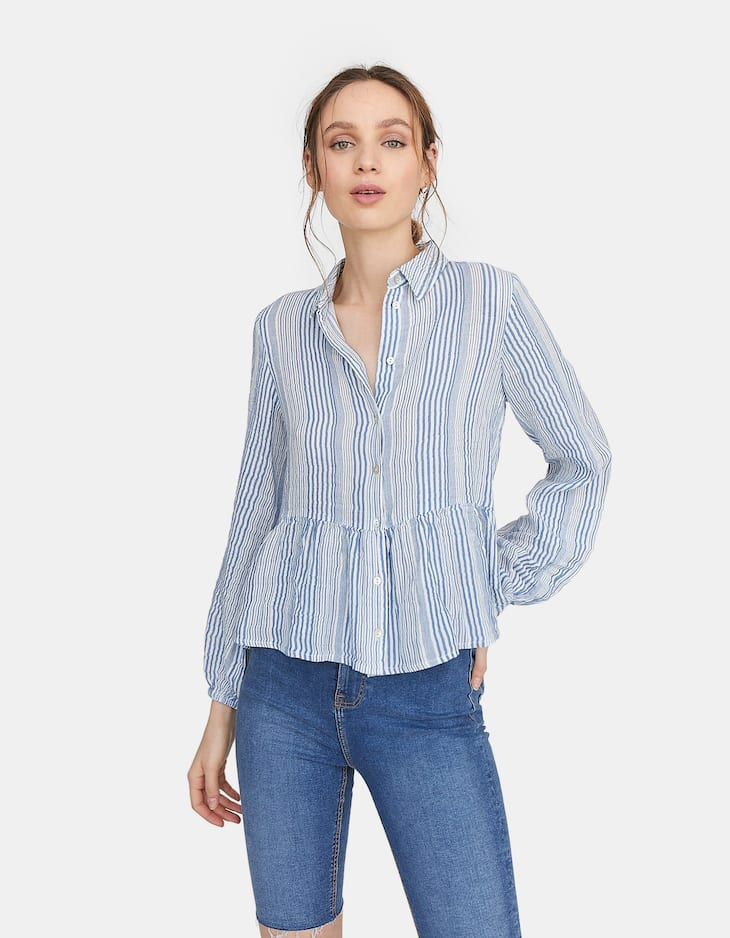 Crepe shirt with long sleeves