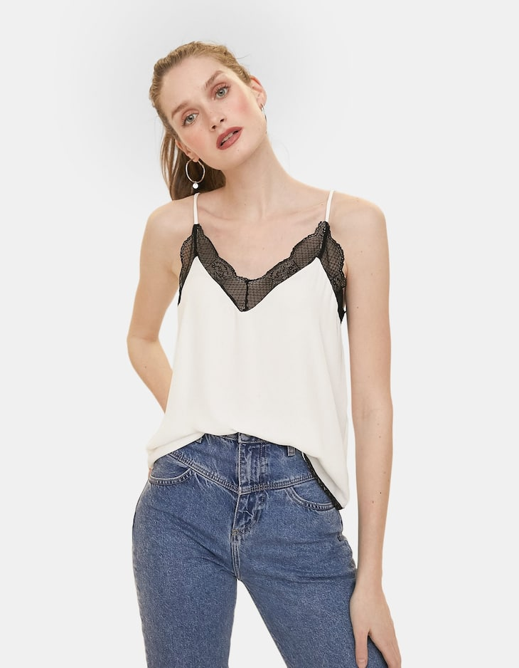 Camisole top with lace trim