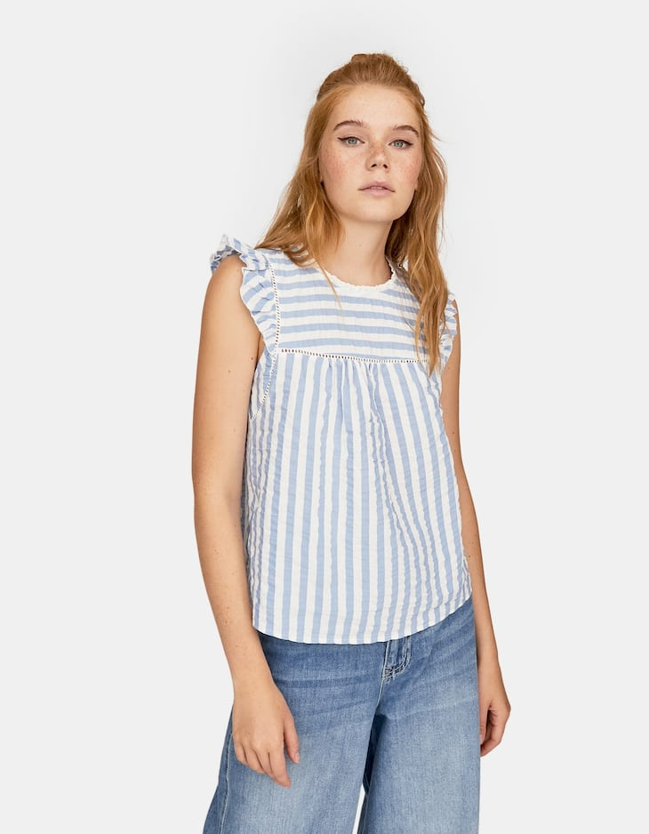 Stripe print seersucker blouse