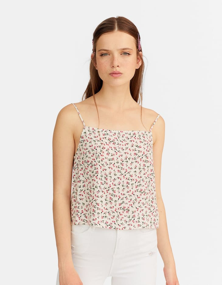 Floral crepe crop top