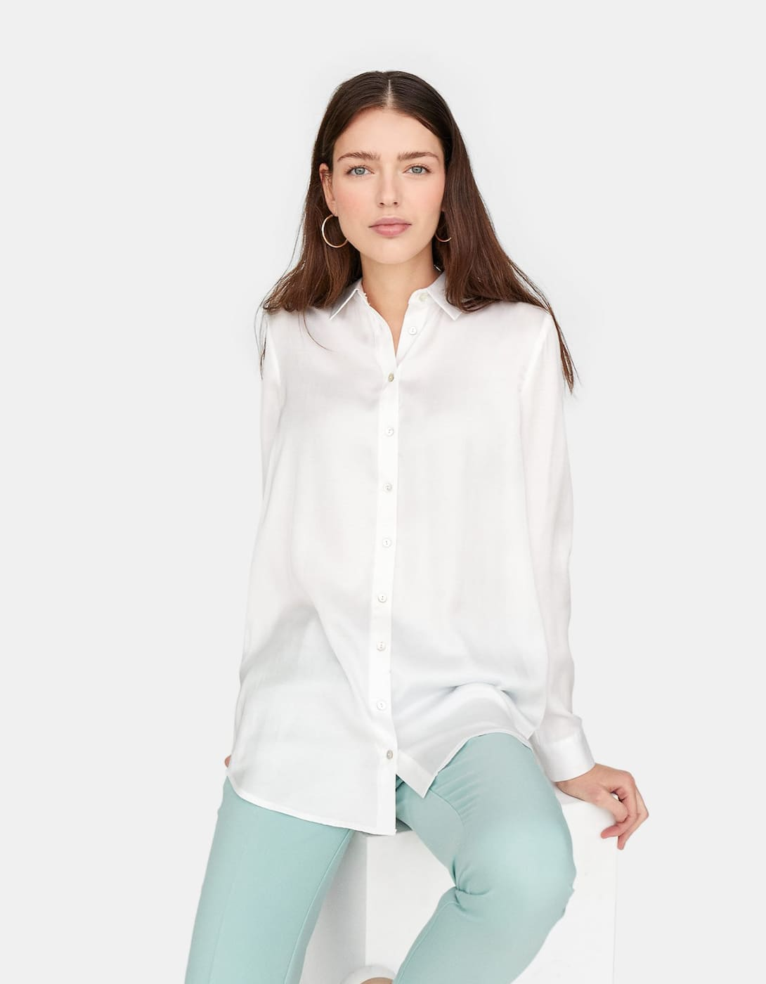 Long Sleeve Sateen Shirt by Stradivarius