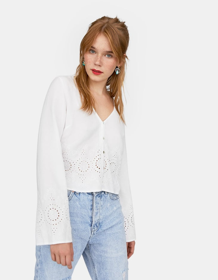 Swiss-embroidered bell sleeve blouse