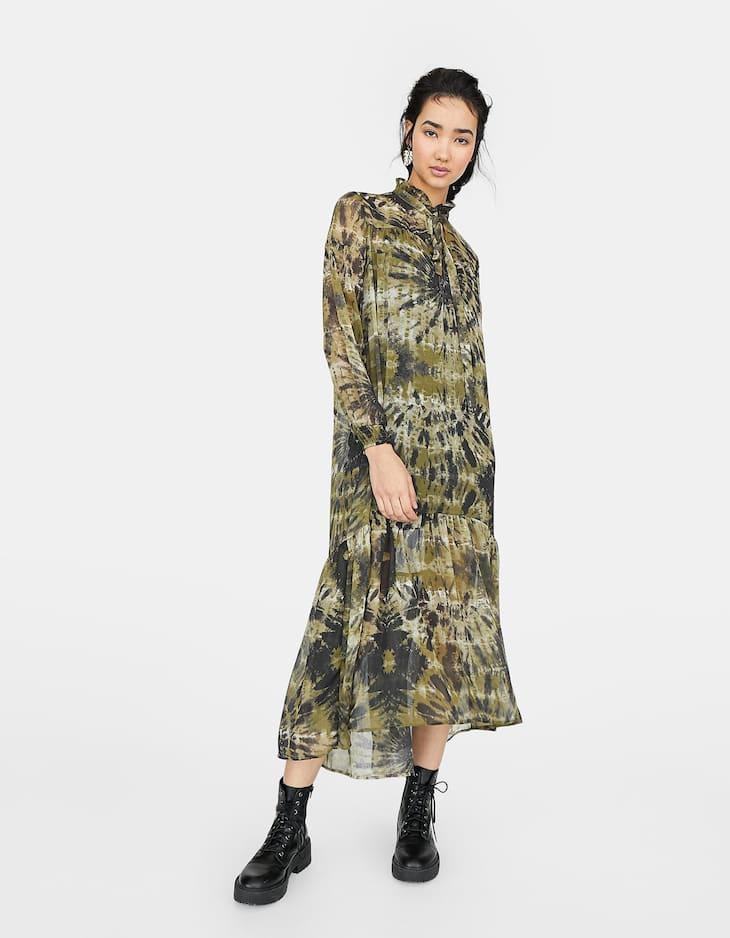 Americanas De MujerStradivarius Largo Estampado Vestido Asimétrico 1lFJcTK