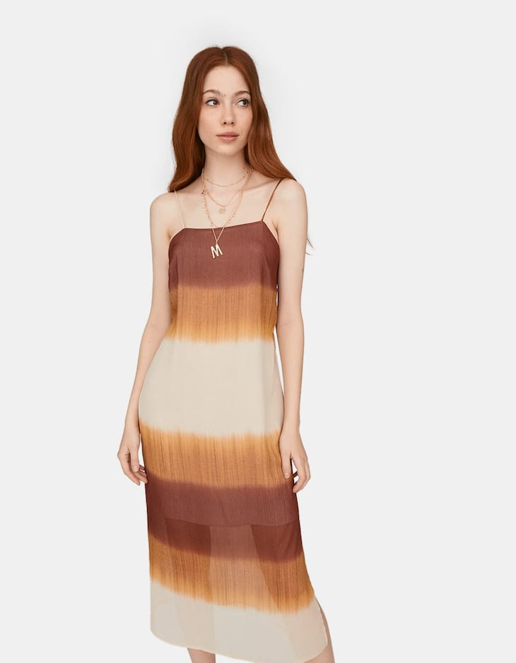 Limited Edition long strappy tie-dye dress