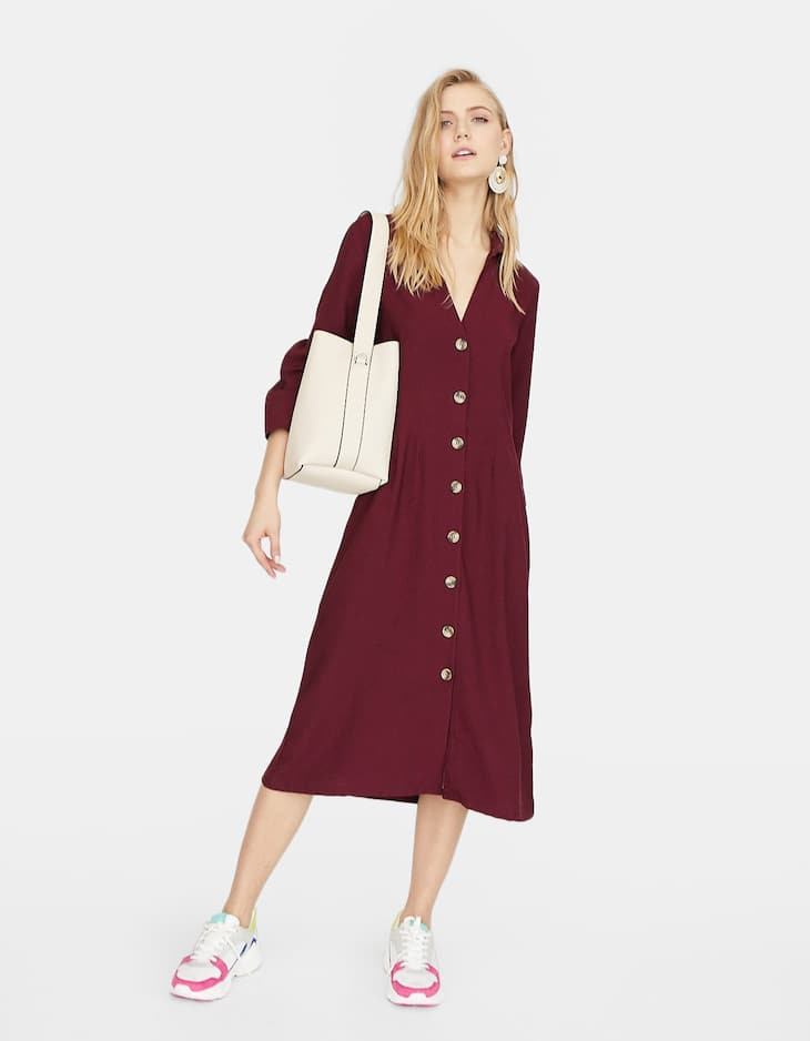 Shirt dress with buttons