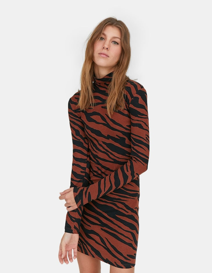 Limited Edition printed turtleneck dress