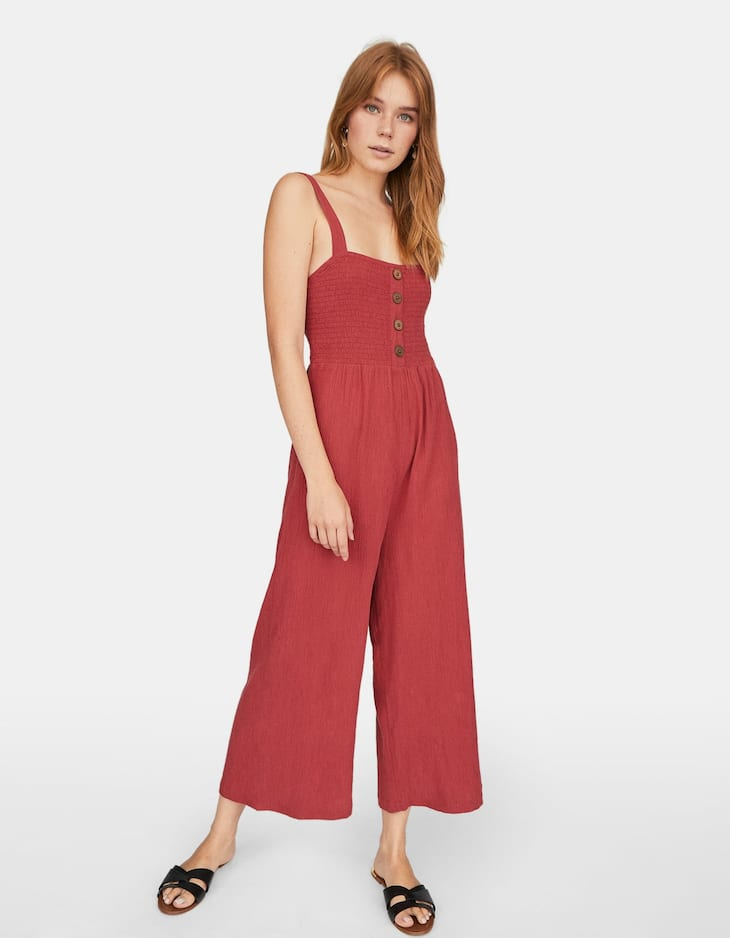 Wide-leg jumpsuit with smocking
