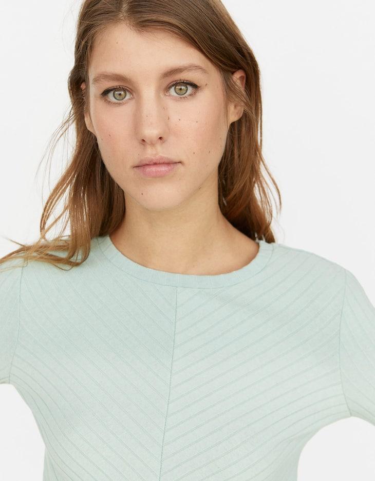 Herringbone patterned T-shirt