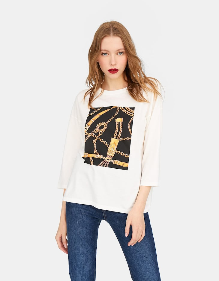 Long sleeve chain print T-shirt