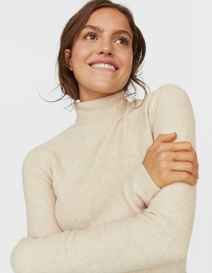 Ribbed high neck T-shirt
