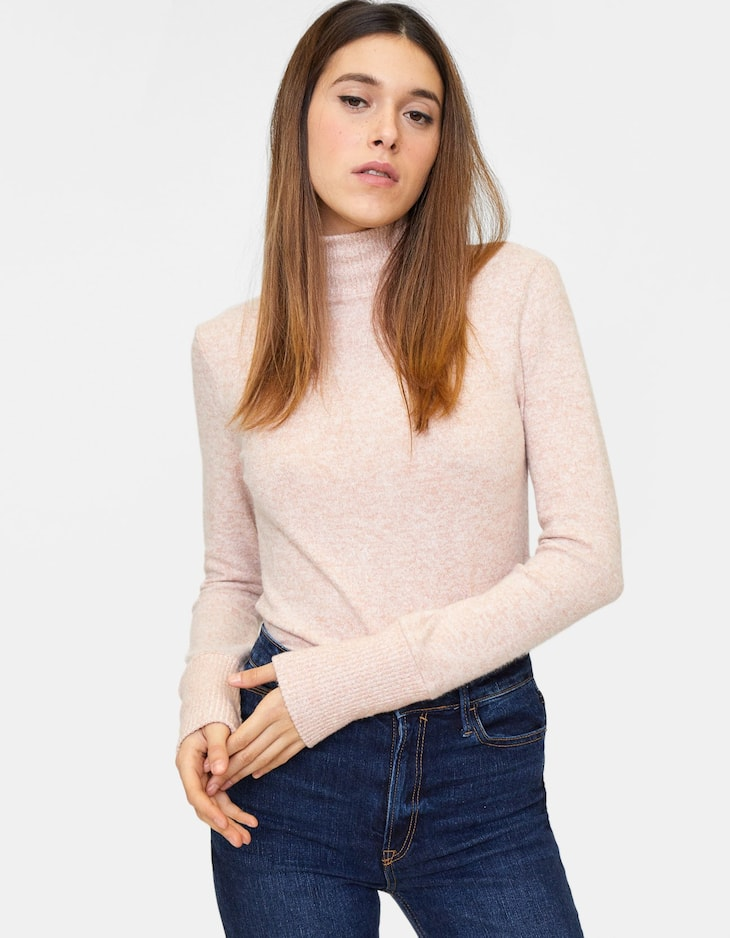 Ribbed napped cotton turtleneck sweater