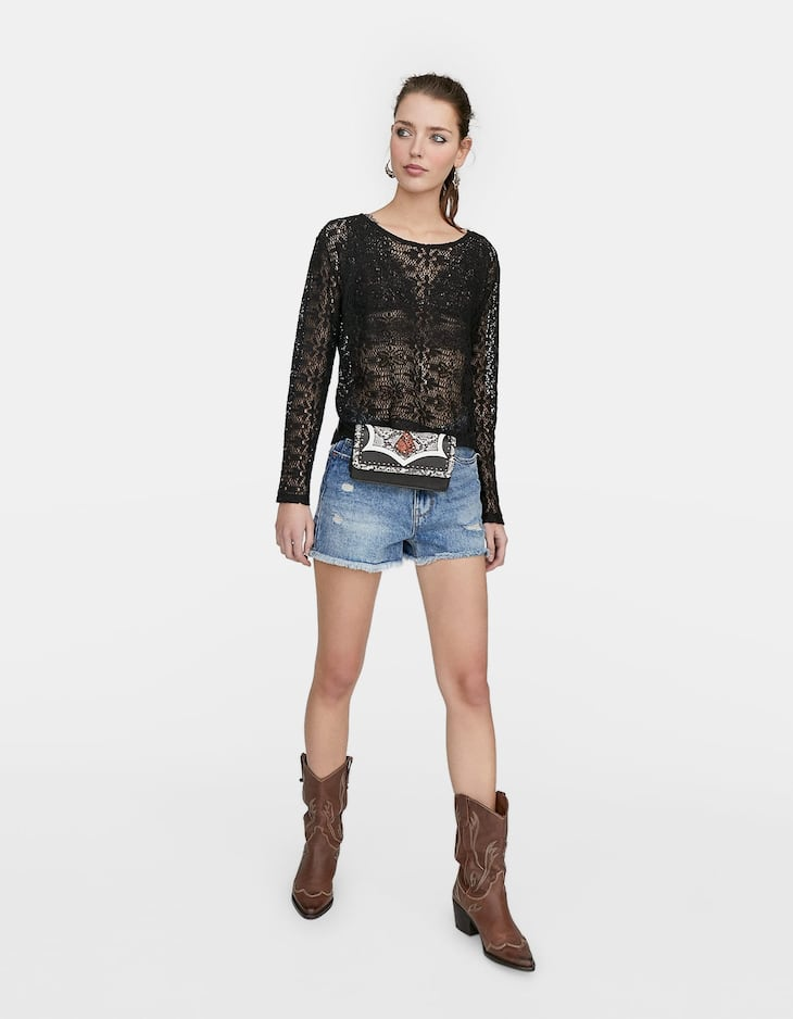 Long sleeve crochet T-shirt