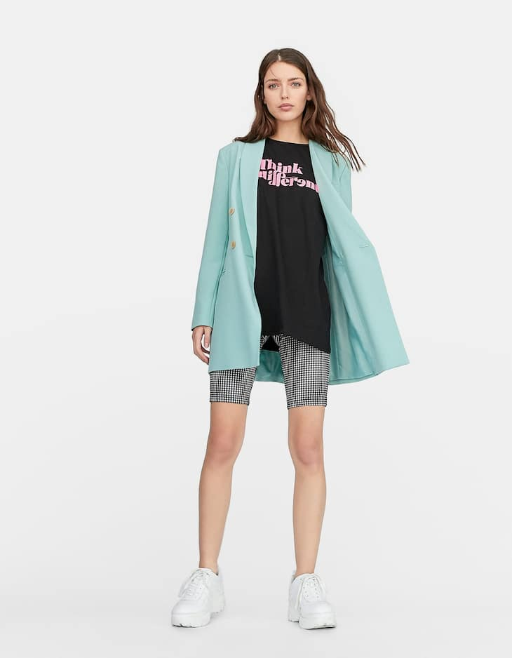 Oversized slogan T-shirt with neon detail