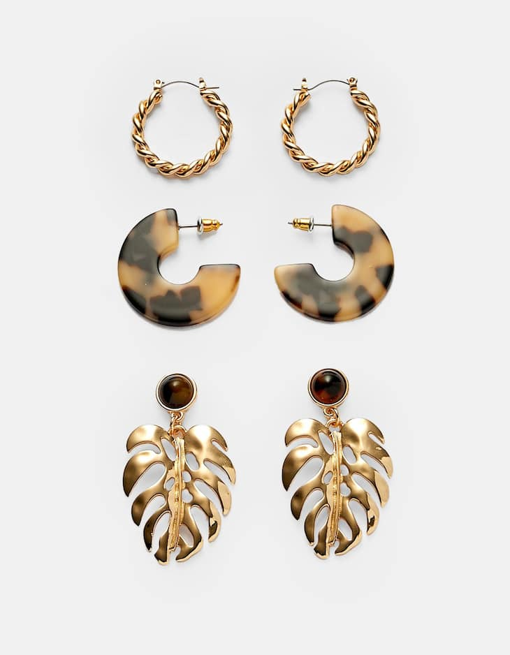 Set of 3 leaf and tortoiseshell earrings