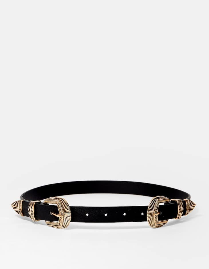 Cowboy belt with double buckle