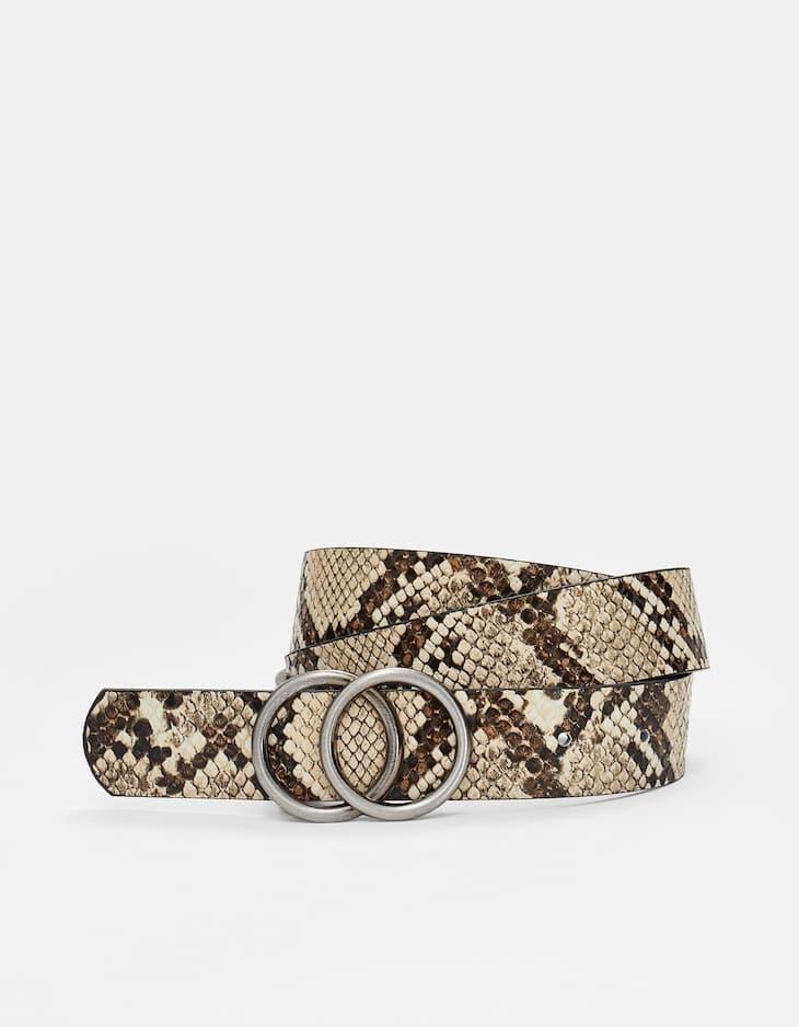 Faux snakeskin double-ring belt