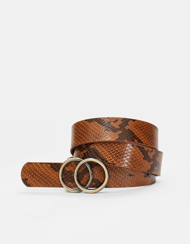 Faux snakeskin double-ring belt