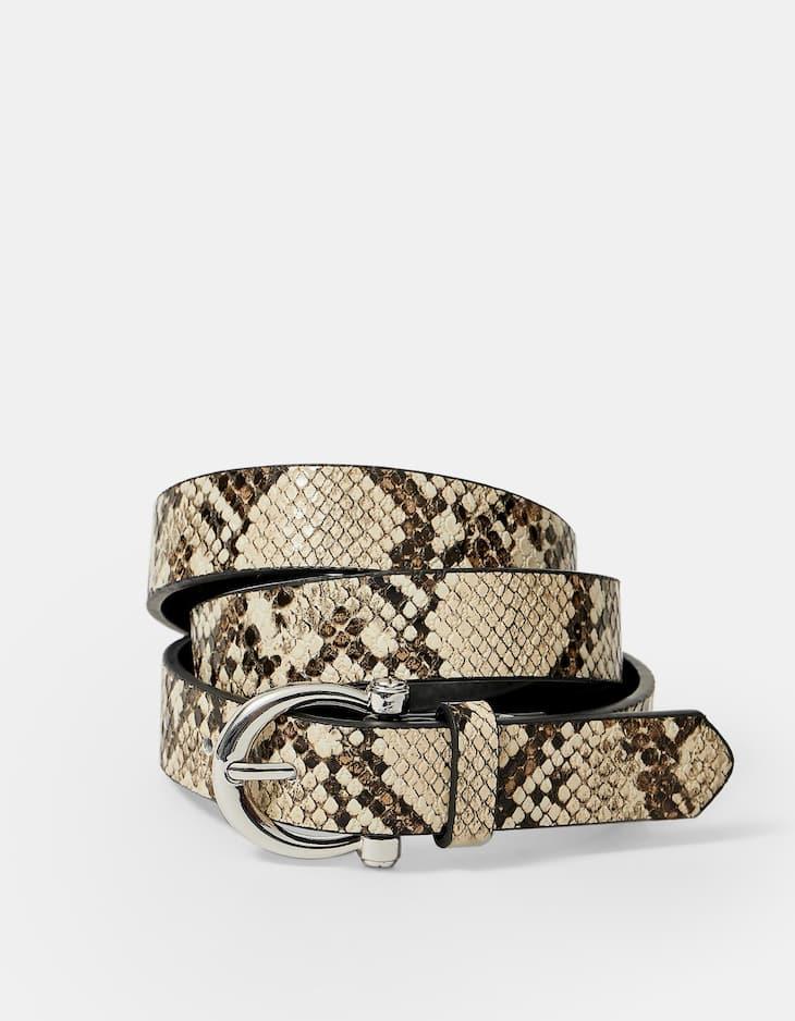 Faux snakeskin belt with horseshoe buckle