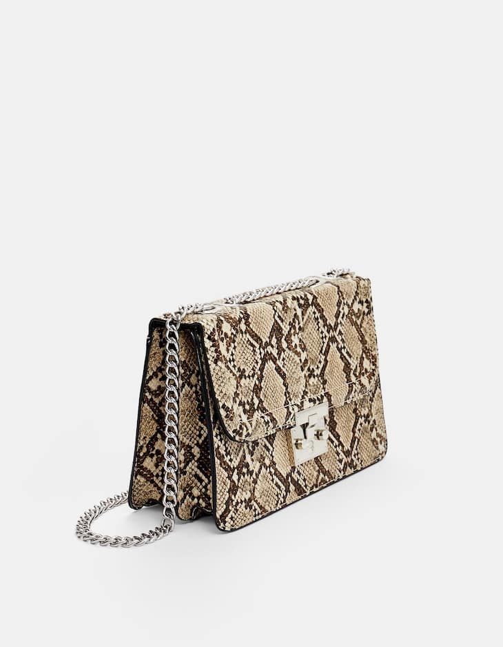 Faux snakeskin crossbody bag