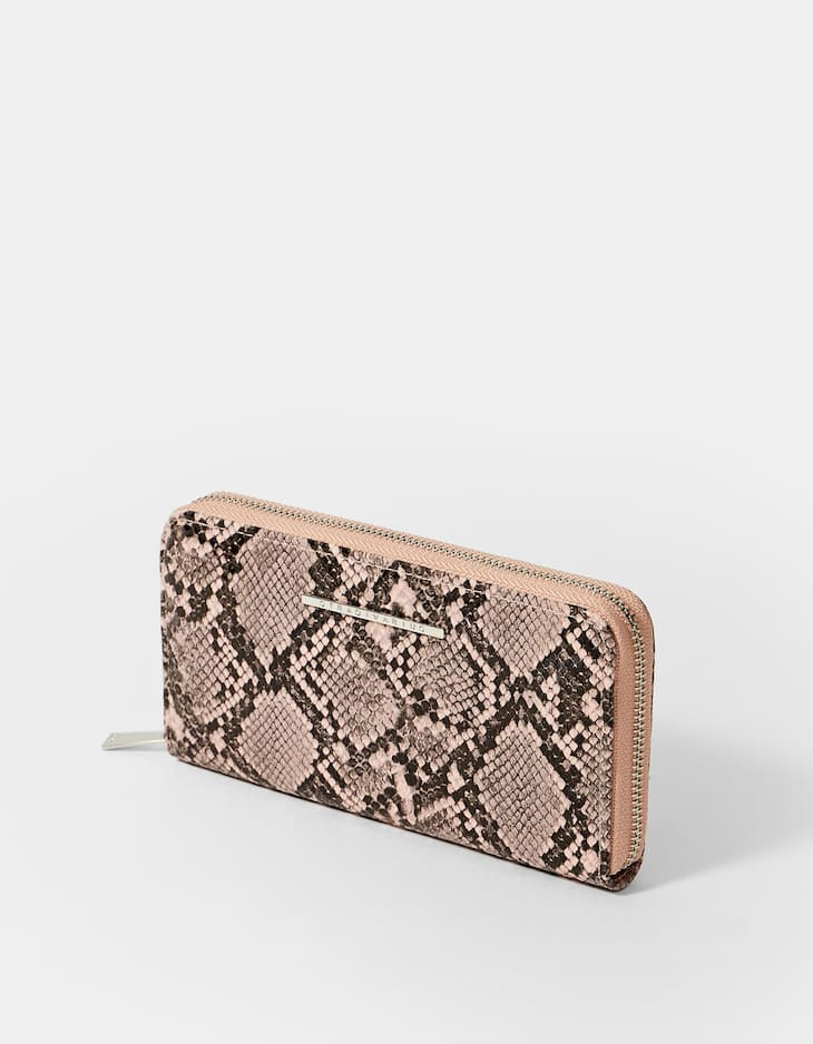 Snakeskin zip coin purse