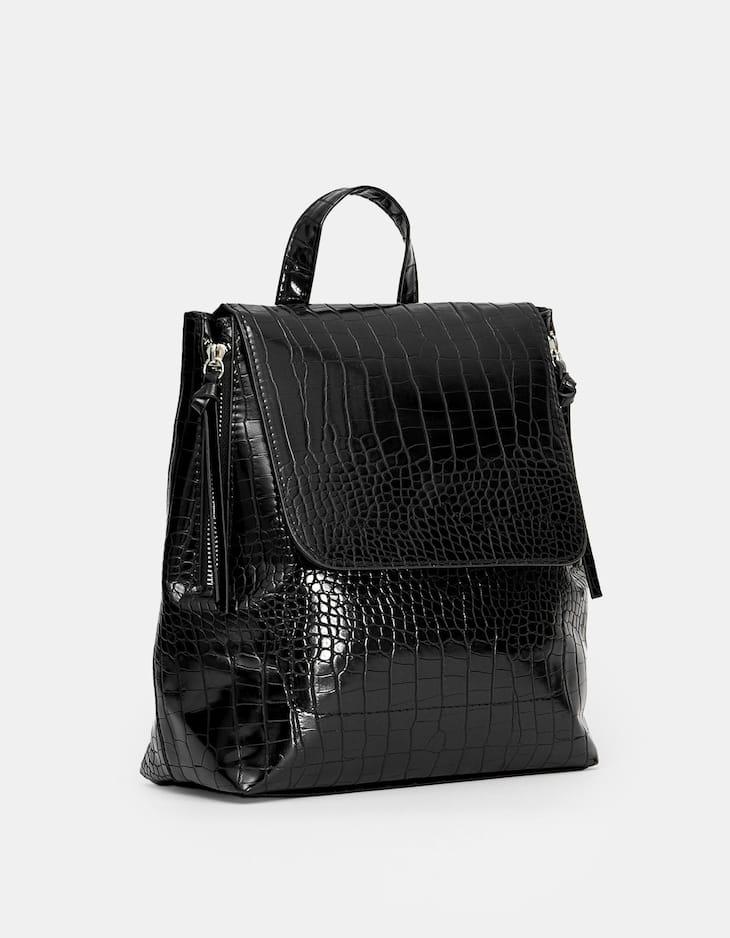 Mock croc backpack with zips