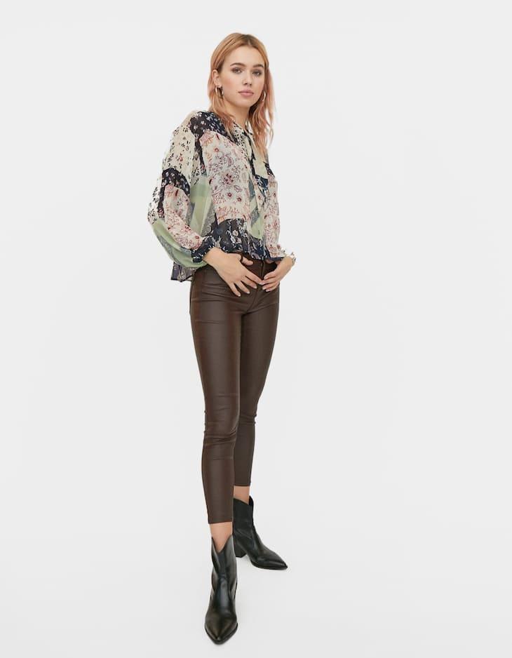 High waist coated trousers