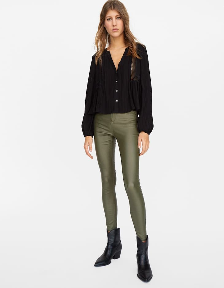 Limited Edition high waist coated trousers