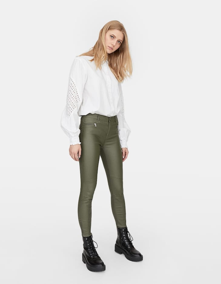 Limited edition coated trousers with zips