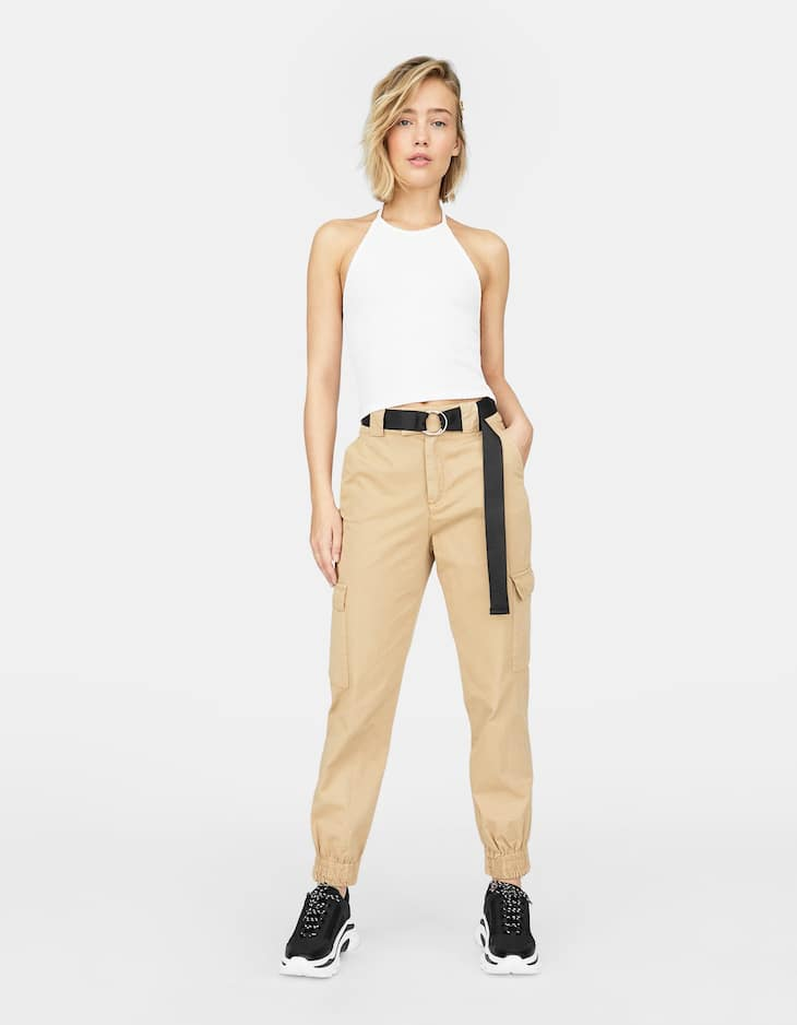Cargo trousers with cuffed hems