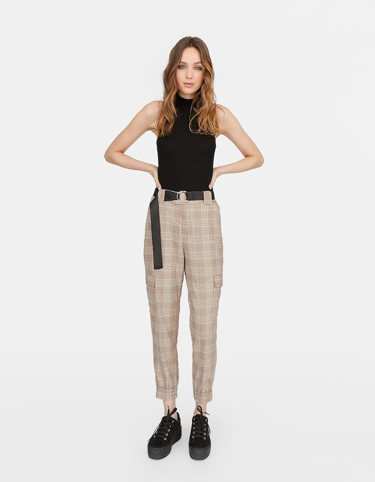 Check cargo trousers with cuffed hems
