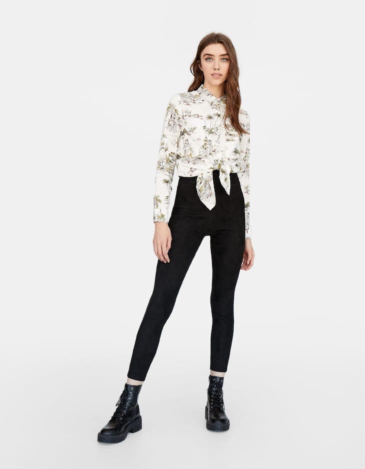 Bonded broek met hoge taille