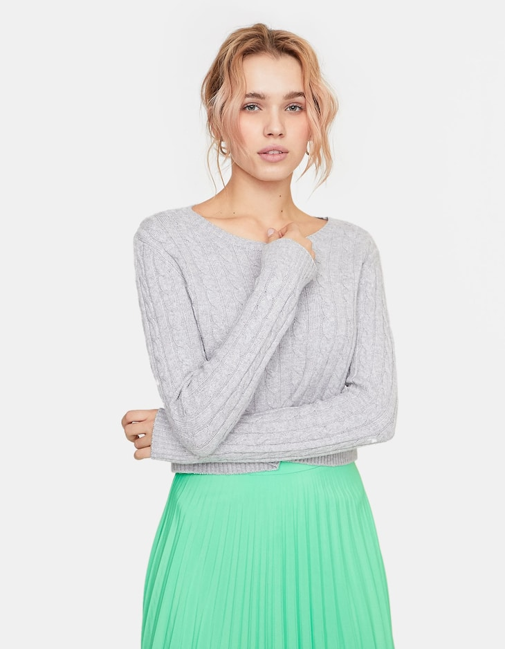 Cropped cable-knit sweater